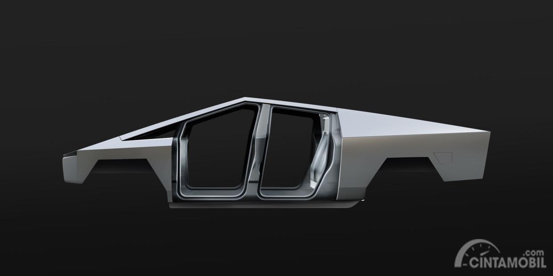 rangka Tesla Cybertruck 2020 berwarna putih