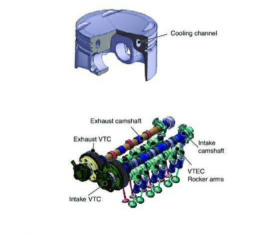 Gambar menunjukkan Piston dan katup Honda P10A2