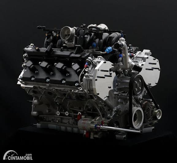 Gambar menunjukkan Mesin balap LMP3 Nissan VK50