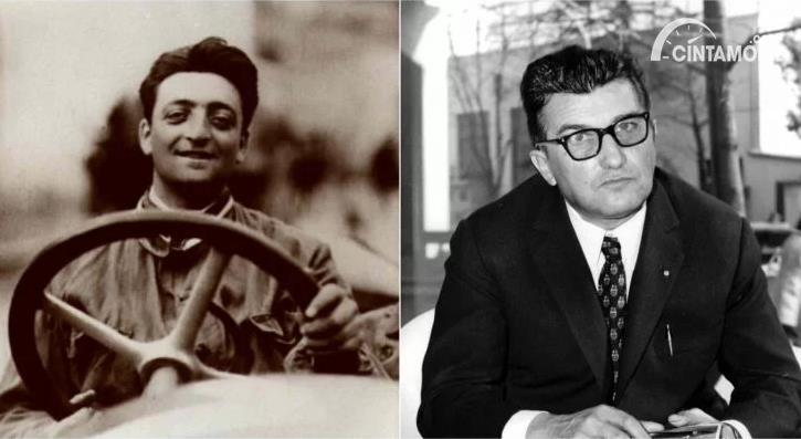 Enzo Ferrari di sebelah kiri dan Ferruccio Lamborghini di sebelah kanan