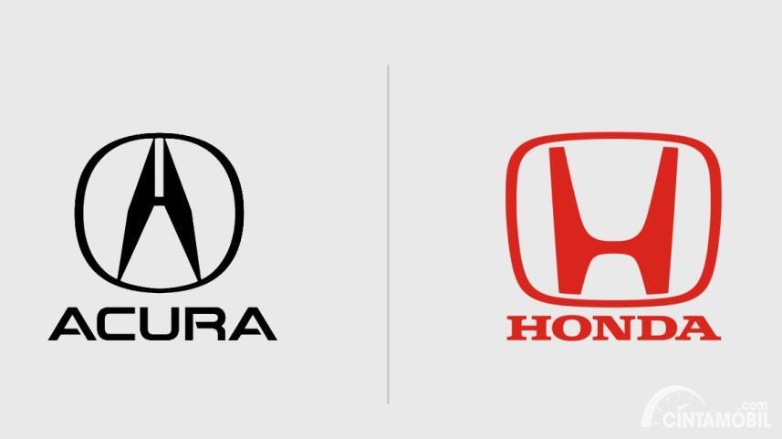 logo Acura berwarna hitam dan Honda berwarna merah