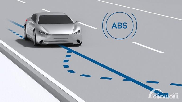 ilustrasi sistem pengereman ABS pada kendaraan