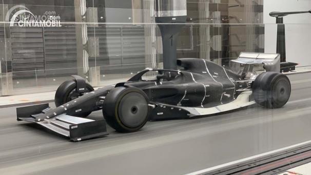Prototype mobil F1 2021 sedang melakukan tunnel testing
