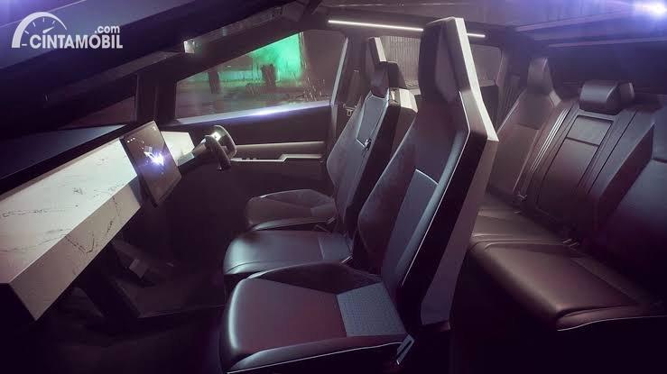 Gambar menunjukkan layout interior Tesla Cybertruck