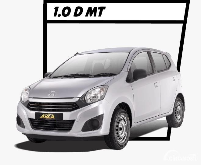 Gambar menunjukkan mobil Daihatsu Ayla dilihat dari sisi depan