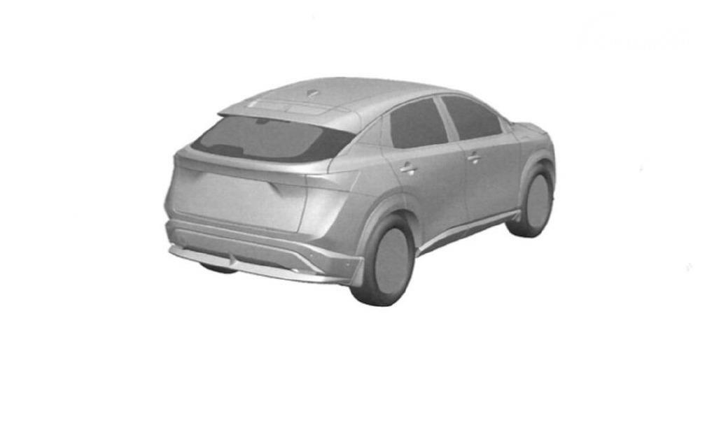 Tampilan paten Nissan Ariya bagian belakang samping