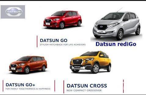 Gambar menujukkan model-model dari keluarga Datsun di Indonesia