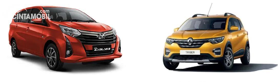Gambar menunjukkan bandingkan antara Toyota Calya vs Renault Triber