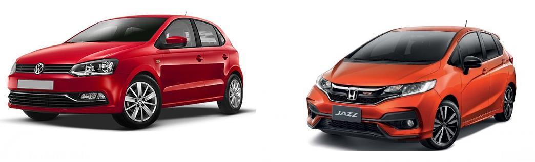 Gambar menunjukkan bandingkan antara Volkswagen Polo vs Honda Jazz RS