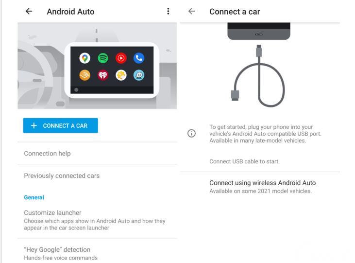 sambungan Android Auto berwarna putih