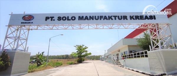 Foto menunjukkan Pintu gerbang Pabrik Esemka Boyolali