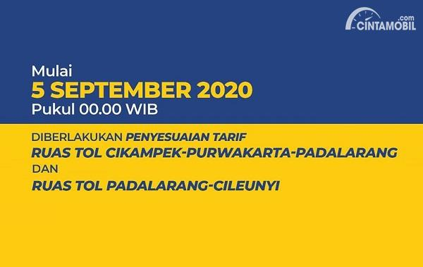 Tarif Tol Cipularang dan Tol Padaleunyi Naik Mulai 5 September