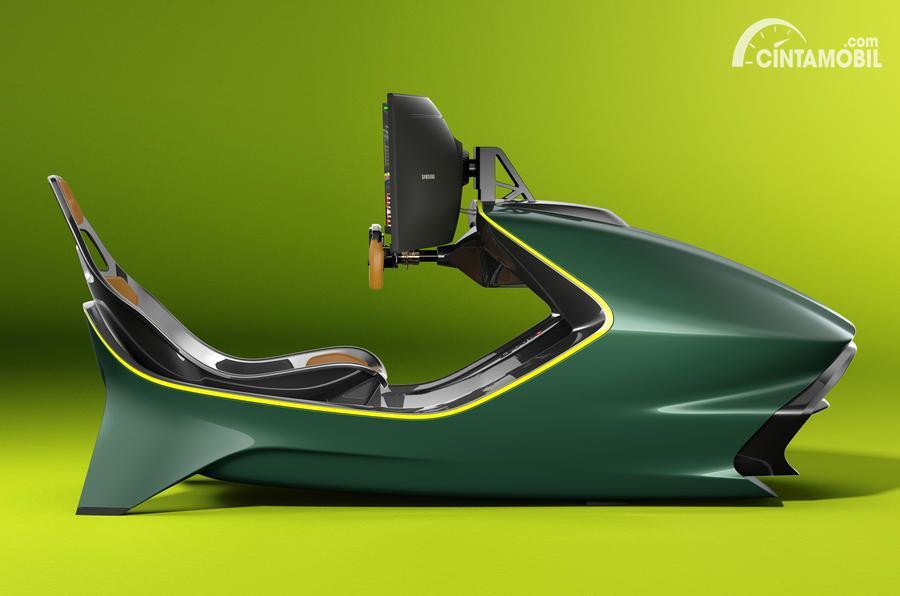 desain simulator balap mobil AMR-C01 berwarna hijau dan kuning