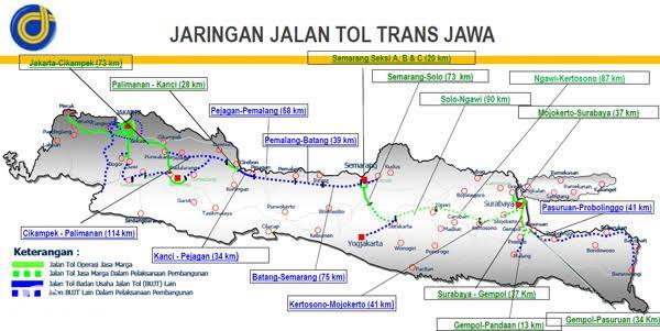 Peta Ruas Jalan Tol Trans Jawa 2020