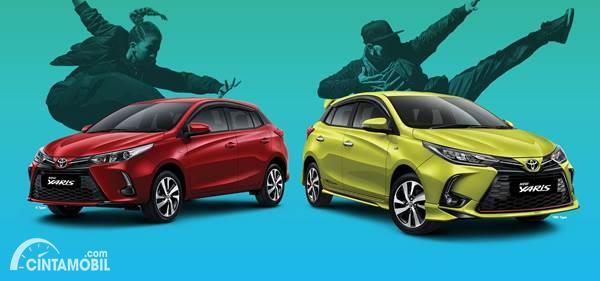 Toyota Yaris warna kuning dan warna merah