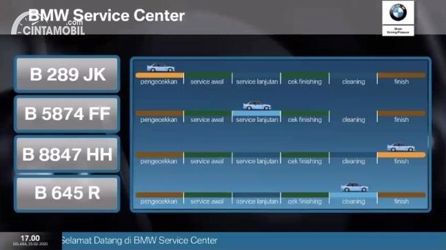 monitor untuk mengetahui tahapan pemeriksaan mobil di BMW Astra