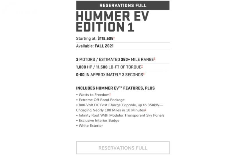Pikap Listrik Hummer EV 2022 Ludes Dipesan Dalam 10 Menit