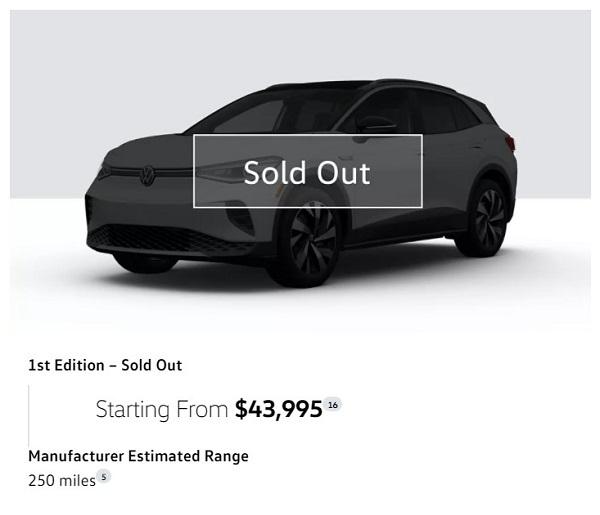 Gambar menunjukkan VW ID.4 1ST Sold Out