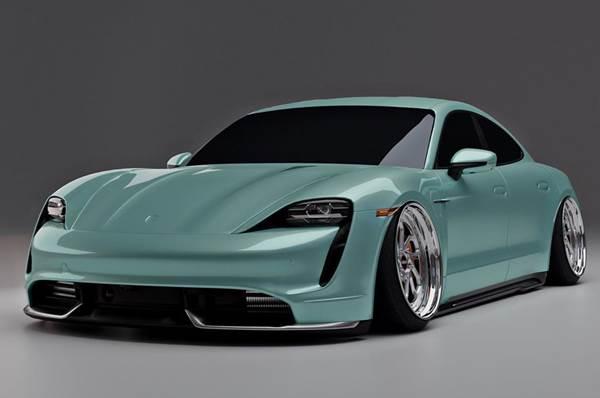 Modifikasi Porsche Taycan Stance, Makin Asyik Pakai Velg Klasik