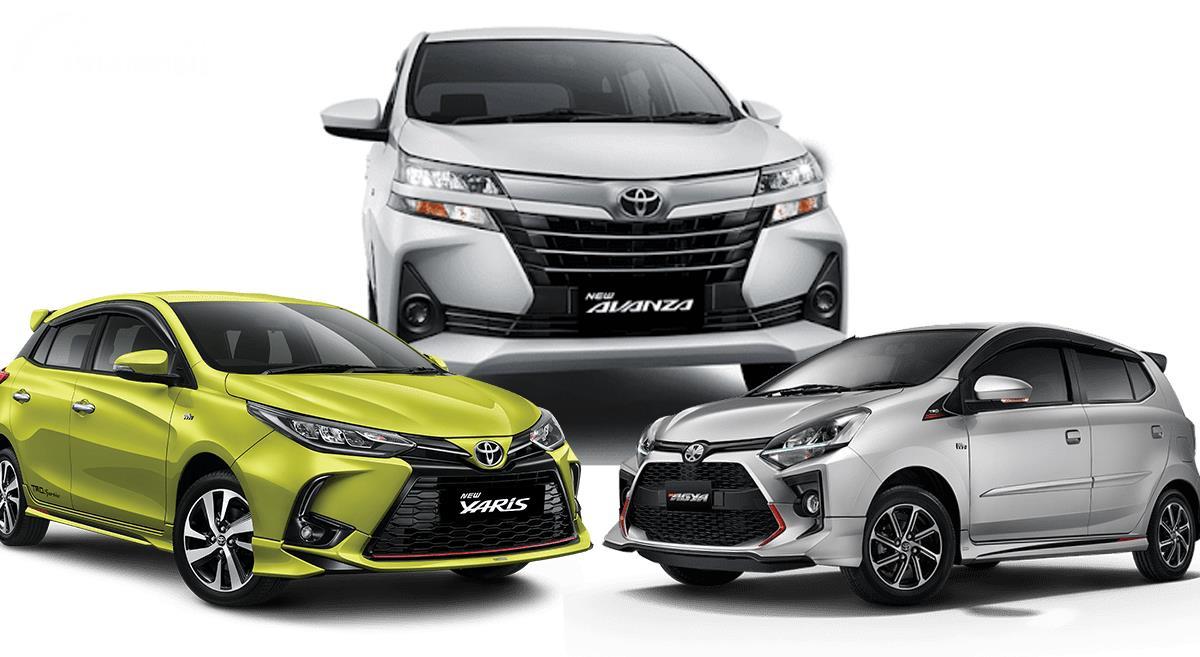 Gambar menunjukkan beberapa model mobil Toyota yang masih dijual di pasar otomotif Indonesia
