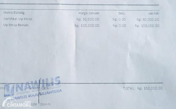 biaya uji emisi yang ada di DKI Jakarta