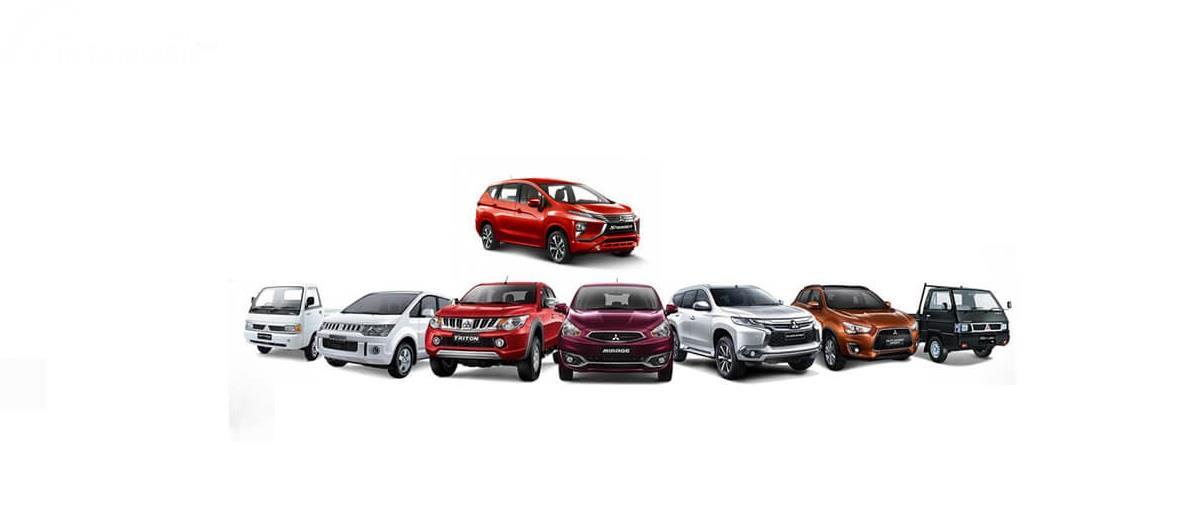 Gambar menunjukkan model-model dari mobil Mitsubishi