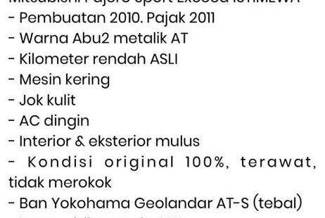 DKI Jakarta, Mitsubishi Pajero Sport Exceed 2011 kondisi terawat