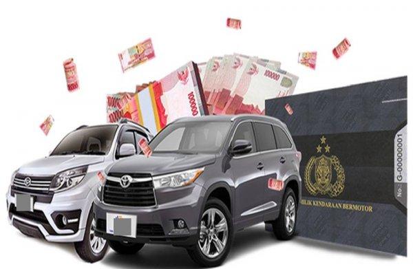 Gambar dua mobil berwarna abu-abu dan BPKB di sebelah kiri dan kertas uang di sebelah kanan
