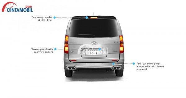 Gambar mobil Hyundai H1 2017 berwarna silver dengan tunjukkan beberapa fitur di bagian belakang