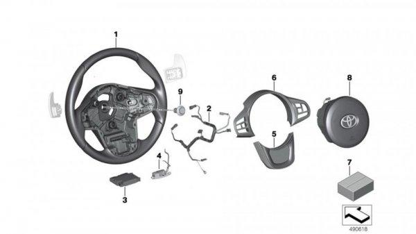 Gambar yang menunjukan kemudi Toyota Supra