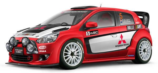 Tampak sebuah Mitsubishi Mirage WRC