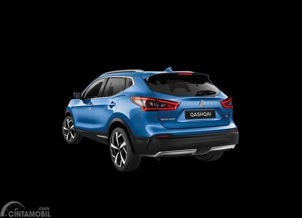 Desain bagian belakang mobil Nissan Qashqai 2019 berwarna biru