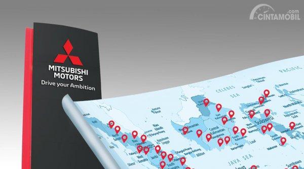 Banner lokasi dealer resmi Mitsubishi