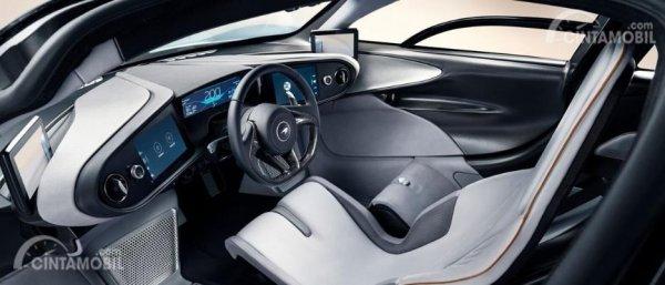 Tampak material speedtail di interior mobilnya