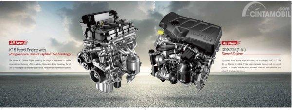 Gambar menunjukkan 2 Pilihan mesin pada Suzuki Ertiga 2019 di India