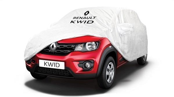 Gambar sebuah Mobil Renault Kwid 2019 berwarna merah dilihat dari sisi depan