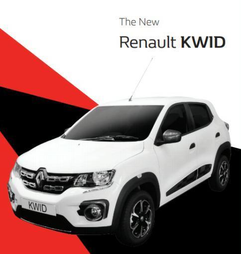 Gambar menunjukkan sebuah Mobil Renault Kwid Icon 2019 berwarna putih dilihat dari sisi depan