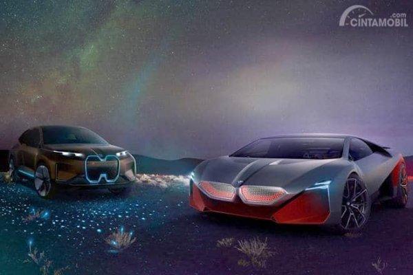 dua konsep mobil listirk BMW berwarna hitam