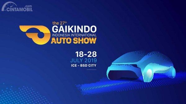 Gambar menunjukkan banner pameran otomotif GIIAS 2019