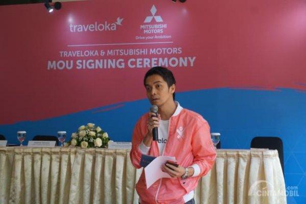 Cristian Suwarna, CEO Traveloka dalam acara penandatanganan MOU Traveloka-Mitsubishi