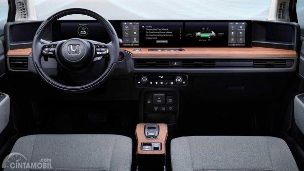 gambar ilustrasi interior Honda E berwarna hitam dan cokelat