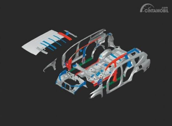 Gambar menunjukkan fitur High Tensille Body Structure New Mitsubishi Pajero Sport 2019