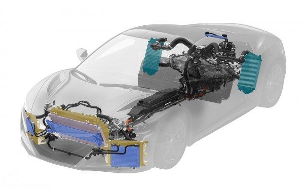Layout powertrain Honda NSX generasi kedua dengan mesin di tengah dan tiga motor listrik yang ditaruh di depan.
