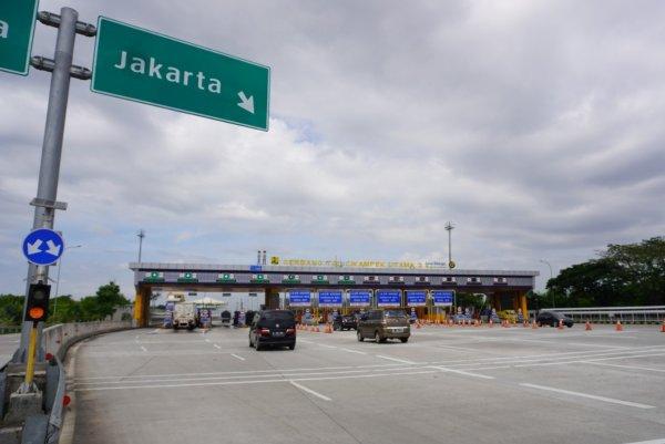Foto menunjukkan suasana di Gerbang Tol Cikampek Utama 2
