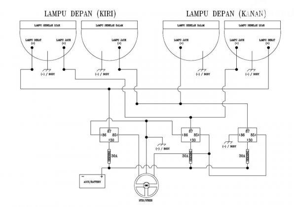 Diagram Skema 3 Relay Lampu Mobil