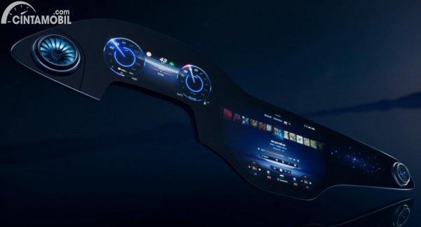Layout MBUX Hyperscreen dengan tiga layar dengan fungsi berbeda-beda