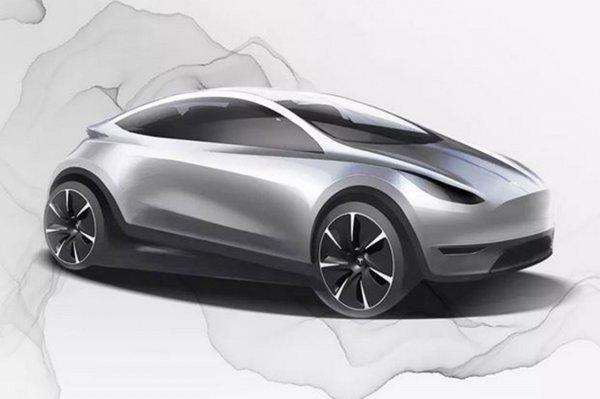 Foto menunjukkan Sketsa Tesla Model 3 hatchback