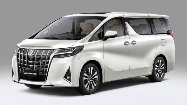 Foto menunjukkan Toyota Alphard 2020 tampak depan samping