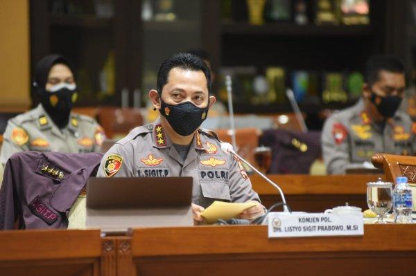 Foto menunjukkan Calon Kapolri, Komjen Pol Listyo Sigit Prabowo saat Proper and Test di Komisi III, 20 Januari 2021