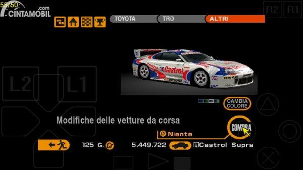 Toyota Supra GT pada game Gran Turismo 2